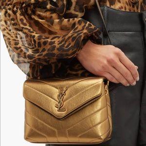 Ysl toy Lou Lou puffer bag gold metallic new